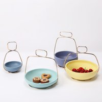 Wholesale Eco Creative Basket Shape Blue Green Purple Yellow Metal Resin Storage Snack Nut Fruit Tray Compote Home Wedding Christmas Tool