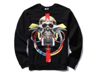 big menswear - Tide brand new autumn and winter in Europe and America skull big high street menswear lines hedging long sleeved round neck sweater
