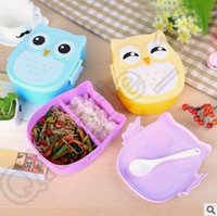 Wholesale 600pcs CCA4238 High Quality Color Fashion Cartoon Owl Lunch Box Food Fruit Storage Container Portable Bento Box Children Lunch Box Gifts