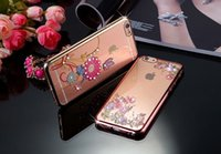 Wholesale soft TPU Bling Rhinestone butterfly rose flower Case With Style For iPhone S Plus iPhone plus
