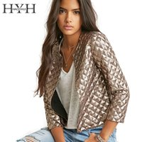 Wholesale 2016 Brand New Spring Style Vogue Lozenge Women Gold Sequins Jackets Three quater sleeve Fashion Coats Outwears