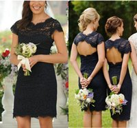 Wholesale Cheap Sexy Red Pencil Dress - Formal Short Lace Sheath Bridesmaid Dresses Navy Blue Garden Summer 2016 CHeap Backless Sexy Party Gowns Hollow Covered Lace Pencil Dress
