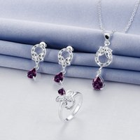 Wholesale Wedding fashion silver necklace earring ring a famliy of three jewelry three drop sets STSS091B sterling silver purple gemstone rings
