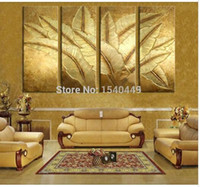 banana leaf pictures - 4 Piece Hand Painted Modern Picture Still Life Oil Painting on Canvas Abstract Gold Banana Leaf Wall Art Home Decor Set