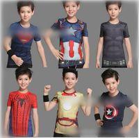 batman sweaters - Newly Superhero D Print Kids short sleeved T shirt Batman spider man captain America Iron Man Marvel Tee Tops Boys Quick Dry Kids Sweater