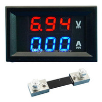 Wholesale Dual LED DC Digital Display Ammeter Voltmeter LCD Panel Amp Volt A V B00328 OSTH