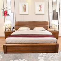 antique style bedroom furniture - Double bed meters meters High solid wood bedroom furniture box storage bed new Chinese style big walnut wood bed