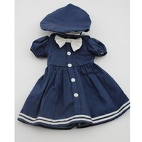 baby bubbles doll - Fashion Navy Style Cap and Skirt For Inch American Girl Doll Accessories For Baby Doll Bubble Sleeves Dress For Doll Reborn