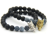 antique indian beads - 2016 New Design Mens Jewelry mm Matte Agate Stone Beads Antique Silver and Gold Plated Wolf Bracelets
