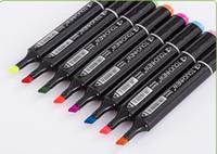 Wholesale 60 Colors Touch Six Black Twin Art Markers Pen Fine Dual Heads Marking Pen Marker Paint Pens with Free Bag