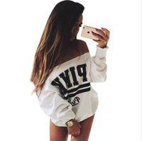 Wholesale 2016 Autumn Winter White Print PINK Women s Tracksuits Svitshot Strapless Hoodies Women s Sweatshirt