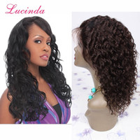Wholesale 7A Brazilian Deep Wave Human Hair Natural Color Full Lace Wigs Medium Cap Size Baby Hair Bleached Knots Human Hair Full Lace Wigs
