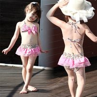 Wholesale New Arrivals Children s Girls Kids Swimwear Bow Swimsuit Bikini Skirts Beach Supplies Leopard Pattern Nylon KA373