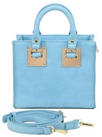 ags blue - LKX AGS Ladies Fashion lake Blue Candy Color Quality PU Leather Tote Bags Small solid color blue with metal lock