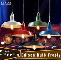 american light bulbs - lighting fixture Edison Bulb cm Retro loft Lid Lamp Black White Green Blue Red American Village Bar Iron Pendant light