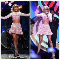 album images - 2017 Short Mini Piece Taylor Dress Album Iheartradio Music Festival Performance Dress Pink Crystal Beaded Prom Party Dress