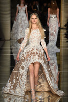 art deco floral - Zuhair Murad New Champagne High Low Long Sleeve Ball Gown Prom Dresses Fully Applique Dubai Arabic D Floral Occasion Evening Pageant Dress