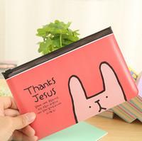 al por mayor bolsa para el teléfono rosado-Conejo mayor-X12 Kawaii Pink bolso de la pluma caja de lápiz de la escuela de papelería Efectos de escritorio del teléfono del caso cosmético del maquillaje de la bolsa del bolso de almacenamiento