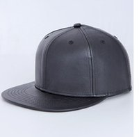 Wholesale Leather Panel Flat Bill Blank Snapbacks Hat hip hop Cap