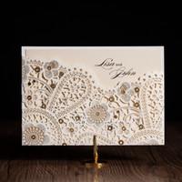Wholesale 2016 New Elegant Wedding invitation card European Delicate Design White Embossing Gold Foil Laser Cut Invitation cards