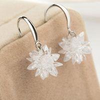 Wholesale 2016 New Luxury Silver Snowflake Wedding Charm Earrings CZ Rhinestone Engagement Beautiful Earrings Jewelry Crystal Ear Rings