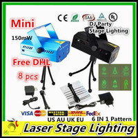 Wholesale Free DHL Mini Laser Stage lighting Led150mW Mini Green Red Laser DJ Party LED Laser Stage Lighting Disco Dance Christmas Lights