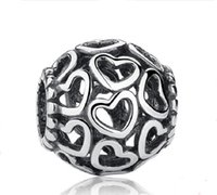 Wholesale Pandora Style Sterling Silver Open Your Heart Charm Openwork Beads Fit Bracelet Bangle Jewelry Making PAS021