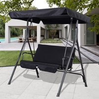Wholesale Black Outdoor Patio Swing Canopy Awning Yard Furniture Hammock Steel Person