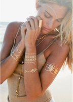 Wholesale Express body art painting tattoo stickers glitter Metal gold silver temporary flash tattoo Disposable