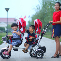 Wholesale Twins Double Child Bike Stroller Double Seats Baby Tricycle Folding Three Wheels Shockproof Twins Pushchairs JN0098
