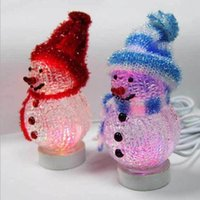 Cheap Color Changing LED Snowman USB Rechargeable Christmas Decorate Mood Lamp Night Light Xmas Tree Hanging Ornament Table Decor ZA1320