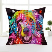 Wholesale cartoon colorful animals dog cat printed linen home office sofa cushion pillow case without pillow