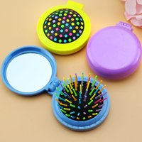 Wholesale 5Pcs Colorful Girls Portable Mini Folding Hair Comb Airbag Massage Round Travel Brush With Mirror Cute Hair Accessories