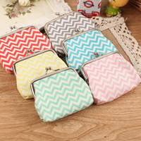 Wholesale High quality Chevron wavy lines coin purse Women fashion wave stripe coin purse Faux Leather zero wallet lovely girl coins purse wallet