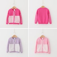 Wholesale ZY31 kids Girls spring winter O neck stripped patchwork cardigan long sleeve sweaters child girl cotton warm sweater free ship