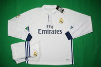 Wholesale Benwon Madrid home white long sleeve soccer jersey thai quality football uniforms men s sport sets tracksuit kits