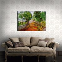 autumn tree paintings - LK138 Autumn Tree lined Trail Landscape Oil Paintings Pictures On Canvas Wall Art Modern Pictures Print Handmad On Canvas Paintings For Home