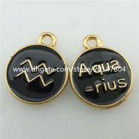 aquarius jewelry - 19224 Golden Enamel Constellation Horoscope Zodiac Pendant Aquarius Pisces Women Fashion Jewelry
