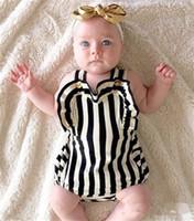 Wholesale Kids Romper Children Clothes Summer Black White Stripe Baby Leotard Straps Bodysuits all in ones Child Jumpsuits T