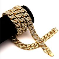 Wholesale New Arrival Miami Cuban Link Chain Gold Plated Fully Iced Out Hip Hop Bling Hot Sale Promotion Chain Bracelet Set Hip Hop Bling