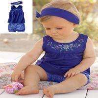 baby suit coat - DHL Summer Baby Toddler Girls Floral Printed Sets Suits Headband T shirt Pants New Kids Cotton Tank Vest Coat Sets Children Clothing