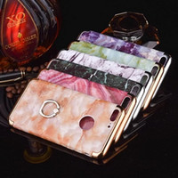Wholesale hot sale cell phone case ring stand electroplating marble crystal hard case iphone plus