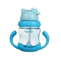 Wholesale Kitty ml Cute Design Baby bottle Straw Cup PP Plastic Kids Learn Training Cup style health Feeding Bottle