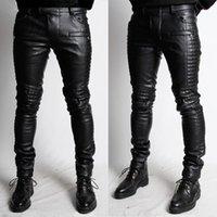 Wholesale New High quality leather pants brand balmain men s jeans elastic jeans for men plus size slim denim trousers BM015