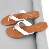 american metal heels - new European and American female sandals flip flops slippers flat metal decorative thong sandals