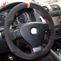 Wholesale XuJi Steering Wheel Cover for Volkswagen Golf Mk5 GTI VW Golf R32 Car Special Hand stitched Black Suede DIY Covers