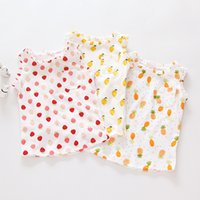 Cheap 2016 Sweet Kids Girls Print Fruit Tees Blouse Western Style Cotton Clothing Cute Children Summer Vest