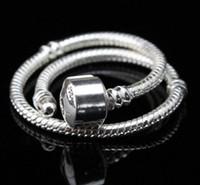 Cheap Top fashion Bracelets 3mm 16-23cm pan do ra charm bracelet 925 silver snake chain fit european charm beads diy bracelet jewelry