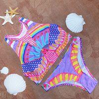 bathing suit tank tops - 2016 new hot neon color sexy triangle high neck bikinis set women swimwear beach Sport Tank Top swimsuit bathing suit swiming