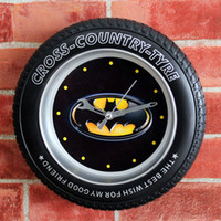 Wholesale 7 Batman Tyre Wheel D Fashion Tyre Wheel Shape Black Wall Clock Modern Design Creative Desk Clock Silent Non ticking Quartz